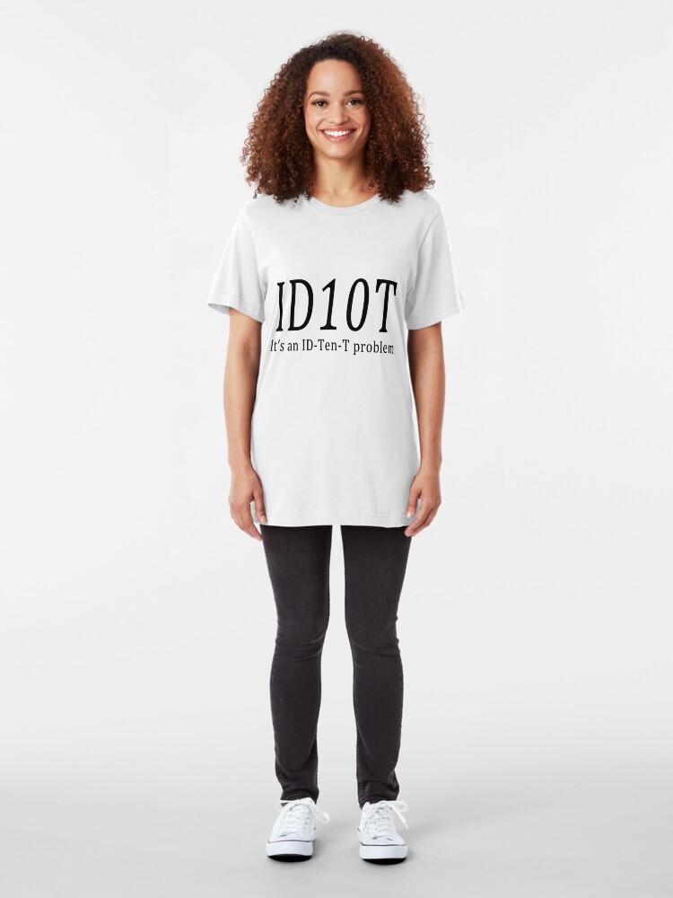 Alternate view of ID10T - light tees Slim Fit T-Shirt