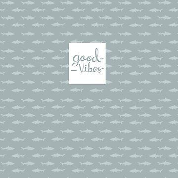 Good Vibes Shark Design Pattern Blue by maretjohnson