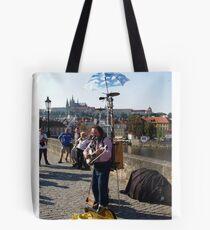 Photo of Street Musician on The Charles Bridge Prague Tote Bag