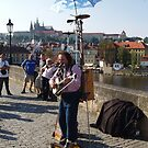 Photo of Street Musician on The Charles Bridge Prague by Darryl Green