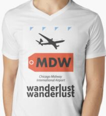 MDW Chicago Midway airport code Men's V-Neck T-Shirt