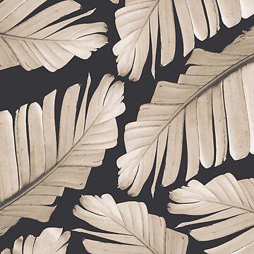 Sepia Banana Leaves Dream #1 #foliage #decor #art by anitabellajantz