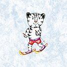 Sportlicher weißer Tiger auf Ski von AnnArtshock
