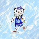 Sportlicher weißer Tiger-Skaten von AnnArtshock