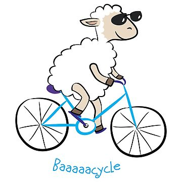 sheep biking happily in slow speed by yolan