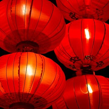 Red Chinese lanterns glowing in the dark by FlatLandPrints