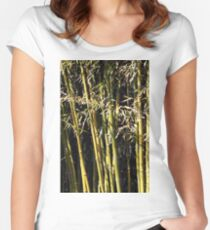 bamboo background nature scene Women's Fitted Scoop T-Shirt