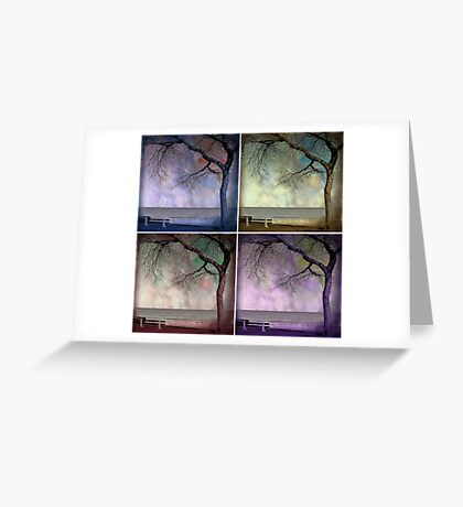 under the tree (collage) Greeting Card