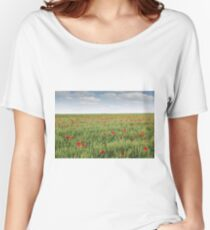 field with green wheat and poppy flower Women's Relaxed Fit T-Shirt