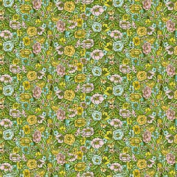 Green Flower Pastel Pattern by linnw