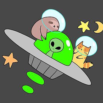 UFO Sloth and Tabby Cat by SaradaBoru