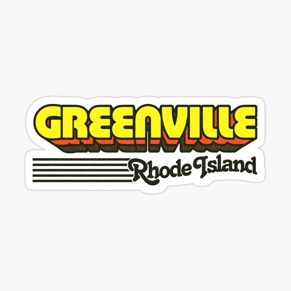 Greenville, Rhode Island   Retro Stripes Sticker