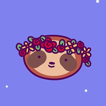 Thank You - Flower Crown Sloth Face by SaradaBoru