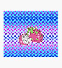 Dragon Fruit Holographic Checkered Pattern Photographic Print