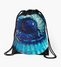 Staring Down the Bottle blue abstract Drawstring Bag