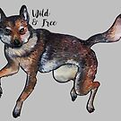 Wild and free watercolor painting wolf by Wieskunde