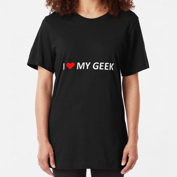 I love my geek - dark tees Slim Fit T-Shirt