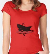 Shark (Black) Women's Fitted Scoop T-Shirt