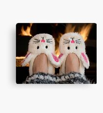 Winter Bunny Slippers Canvas Print