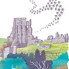 Corfe Castle, Dorset by Maria Burns