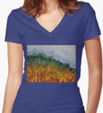 Grandfather Mountain original painting Women's Fitted V-Neck T-Shirt