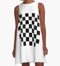 Chess board, chess, board, chessboard, checkerboard, checker, checkers, chequers A-Line Dress
