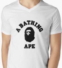 Camiseta para hombre de cuello en v bape una camiseta de logo de mono de baño
