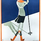 Art Deco Lady Ski Poster by mindydidit