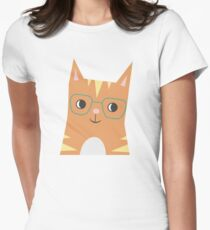 Tabby Cat with Glasses Women's Fitted T-Shirt