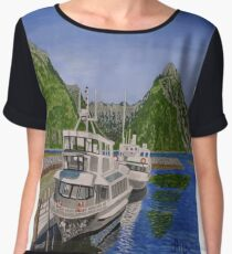 Cruise ships in Milford Sound, New Zealand Chiffon Top