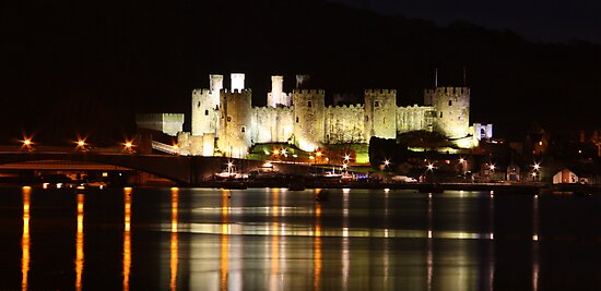 Conway Castle at night by Kimberley Davitt