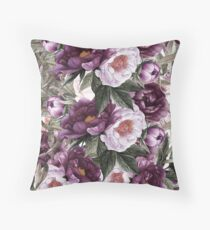 Purple Plum and Pink Watercolor Peonies with Greenery Throw Pillow