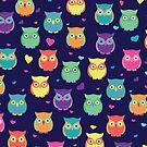 Midnight Love Rainbow Owls by SamAnnDesigns