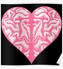 Heart Brain (Black) Poster