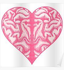 Heart Brain (White) Poster