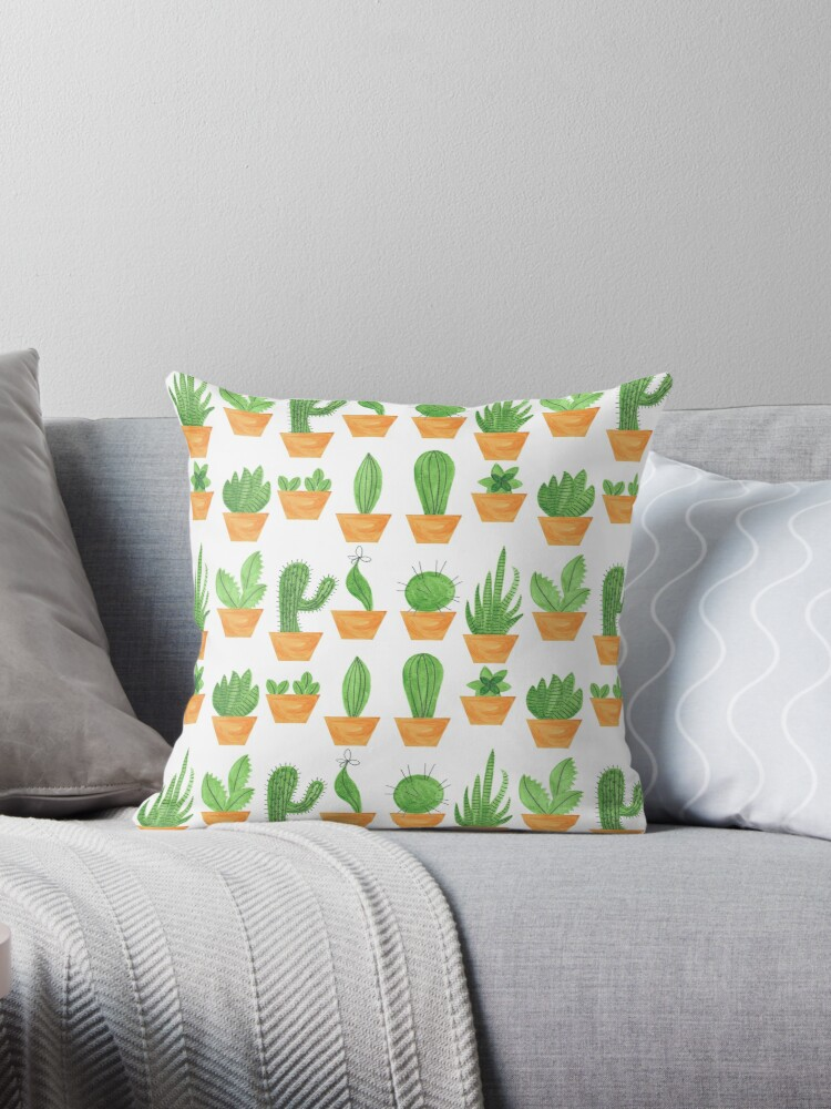 Pattern 14 - Succulents on white background by Irene Silvino