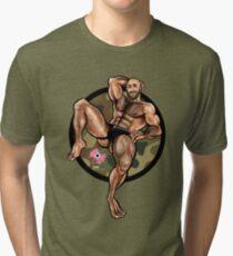 Bullethole Cammo: Manspreading Tri-blend T-Shirt