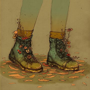 Flower Boots - PopSurrealism Illustration by Chrysta Kay by chrystakay
