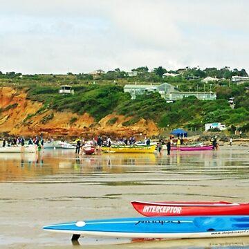 Anglesea surf carnival, long view by janjuc