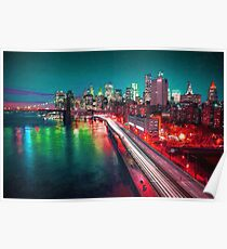 New York City Lights Red Poster