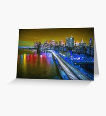 New York City Lights Gold Greeting Card