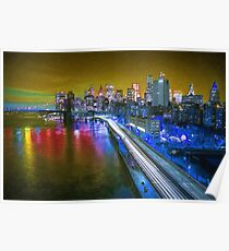 New York City Lights Gold Poster