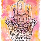 Hamsa Hand - Pink and Yellow by Kristen Fagan
