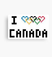 Pixel I Love Canada at the Olympics Canvas Print
