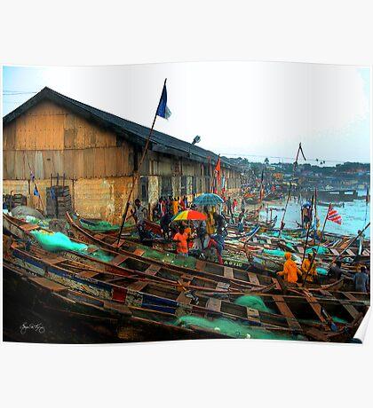 Boats and Umbrellas - Cape Coast, Ghana Poster