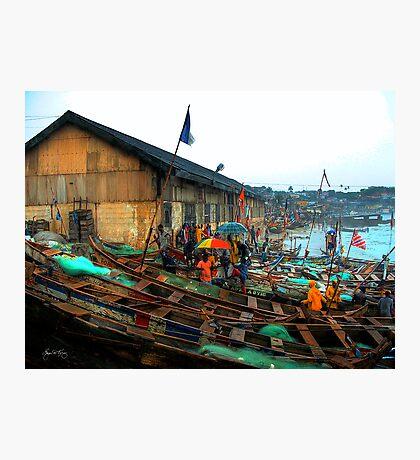 Boats and Umbrellas - Cape Coast, Ghana Photographic Print