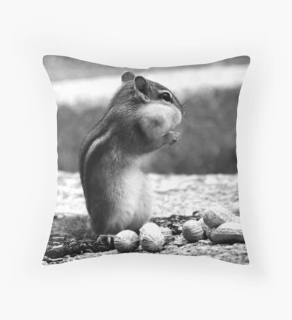 Chipmunk Black&White Throw Pillow