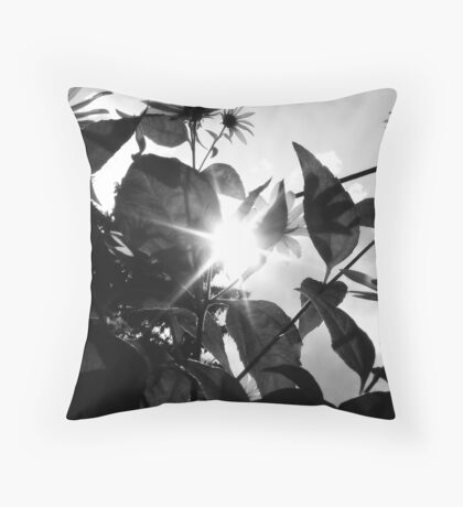 Sun through Flowers Black&White Throw Pillow