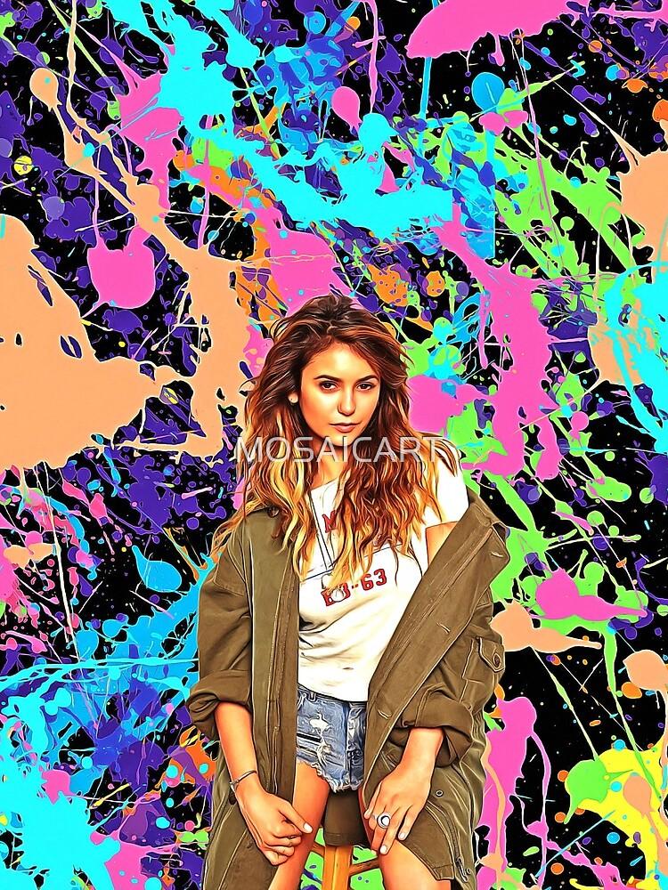 Nina Dobrev - Celebrity (Oil Paint Art) by MOSAICART