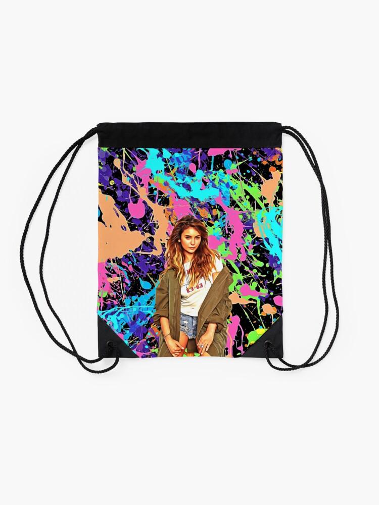 Alternate view of Nina Dobrev - Celebrity (Oil Paint Art) Drawstring Bag